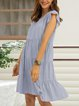 Gray Paneled Plain Boho Crew Neck Dresses