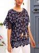 Blue Cotton-Blend Crew Neck Paneled Boho Shirts & Tops