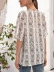 White Paneled Short Sleeve Cotton-Blend V Neck Shirts & Tops