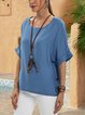 Blue Paneled Cotton-Blend Casual Short Sleeve Shirts