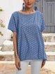 Blue Printed Casual Polka Dots Shirts & Tops