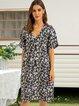 Black Short Sleeve Cotton-Blend A-Line V Neck Dresses
