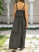 Black-Grey Casual Swing Cotton-Blend Sleeveless Dresses