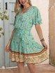 Green Short Sleeve Swing Boho Cotton-Blend Dresses