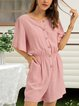 Pink Plain Crew Neck Casual One-Pieces