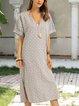 Gray Cotton-Blend Shift Short Sleeve Dresses