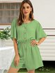 Green Casual Crew Neck One-Pieces