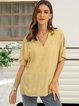 Yellow Plain Cotton-Blend Short Sleeve Shirts & Tops