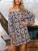 Blue Cotton-Blend Printed Long Sleeve Leopard Dresses