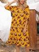 Yellow Half Sleeve Cotton-Blend Dresses