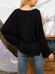 Black Paneled Cotton-Blend Plain Boho Shirts & Tops