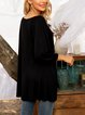 Black V Neck Long Sleeve Cotton-Blend Blouse