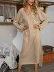 Apricot Long Sleeve Plain Cotton-Blend Paneled Dresses