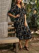 Black Mermaid Short Sleeve V Neck Dresses