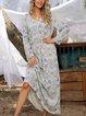 Blue Cotton-Blend Printed V Neck Boho Dresses