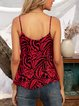 Red Cotton-Blend Spaghetti-Strap Printed Leopard Shirts & Tops