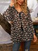 Black Floral Long Sleeve Cotton-Blend Floral-Print Shirts & Tops
