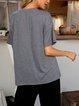 Gray Short Sleeve Paneled Plain Shirts & Tops
