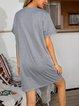 Gray Shift Paneled Casual Cotton-Blend Dresses