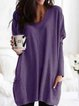 Women Casual Simple Long Sleeve V Neck Pockets Loose Sweatershirt