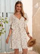 White Floral Shift Frill Sleeve Dresses