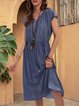 Blue Casual Swing Cotton-Blend Paneled Dresses