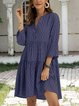 Blue Cotton-Blend Swing Casual 3/4 Sleeve Dresses