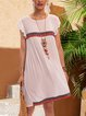 White Plain Short Sleeve A-Line Dresses