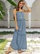Blue Spaghetti-Strap Solid Cotton-Blend Dresses