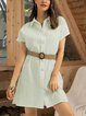 Green Cotton-Blend Casual Paneled Dresses