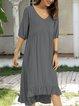 Black-Grey Swing Half Sleeve Paneled Cotton-Blend Dresses
