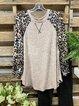 Light Khaki Shift Long Sleeve Leopard Shirts & Tops
