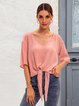 Pink Plain Short Sleeve Cotton-Blend Shirts & Tops