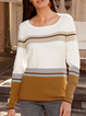 Color block striped bottoming sweater long sleeve round neck sweater