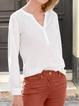 White Plain Cotton-Blend Casual Shirts & Tops