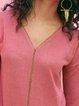 Pink Cotton-Blend Plain V Neck Casual Shirts & Tops