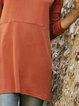 Plain Casual Crew Neck Cotton-Blend Shirts & Tops