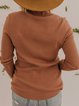 Camel Long Sleeve Solid Cotton-Blend Sweater