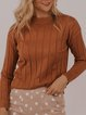 All-match casual solid color jacquard sweater