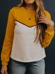 Yellow Crew Neck Geometric Long Sleeve Shirts & Tops