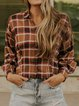 Coral Casual Checkered/plaid Shirts & Tops