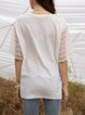 White Crew Neck Half Sleeve Cotton-Blend Solid Shirts & Tops