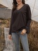 Deep Gray Long Sleeve Crew Neck Solid Blouse