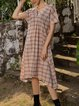 Red Cotton-Blend Checkered/plaid Short Sleeve Dresses