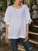 White Casual Paneled Cotton-Blend Solid Shirts & Tops