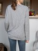 Gray Long Sleeve Casual Crew Neck Plain Shirts & Tops