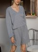 Simple Solid Long Sleeves Blouse & Pants Two Pieces Sets