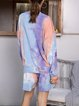 Long Sleeves Tie Dye Soft Blouse with Shorts Sets