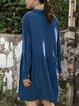 Blue A-Line Solid Cotton-Blend Casual Dresses