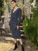 Blue Sheath Cotton-Blend Paneled Long Sleeve Dresses